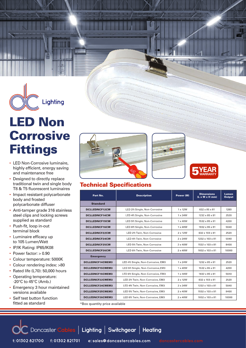 DC Lighting Non Corrosive Fittings